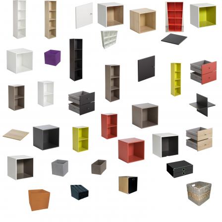 Biblioth que multikaz en cubes multicolore notre maison rt2012 par trecobat - Leroy merlin bibliotheque ...